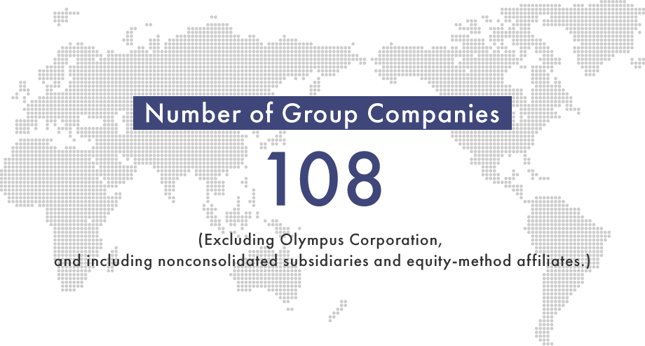 Number of group companies: There are 108 group companies around the world, excluding Olympus Corporation, and including nonconsolidated subsidiaries and equity-method affiliates.